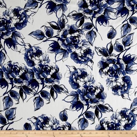 Telio San Tropez Flower Shirting Print Navy Fabric By The Yard