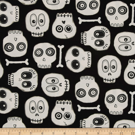 The Boo Crew Glow In The Dark Skeleton Heads Black Fabric By The Yard