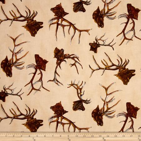 The Elk Gathering Deer Head Cream Fabric By The Yard
