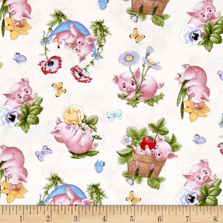 This Little Pig Tossed Pigs Cream Fabric By The Yard