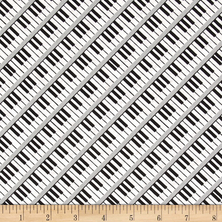 Three Quarter Time Keyboard White Fabric By The Yard