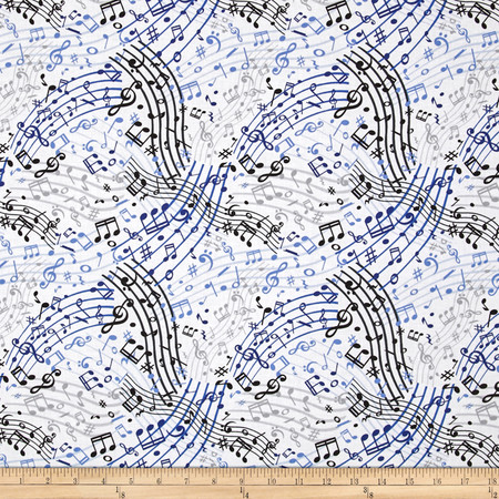 Three Quarter Time Music Waves White Fabric