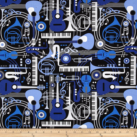 Three Quarter Time Musical Instruments Multi Fabric By The Yard