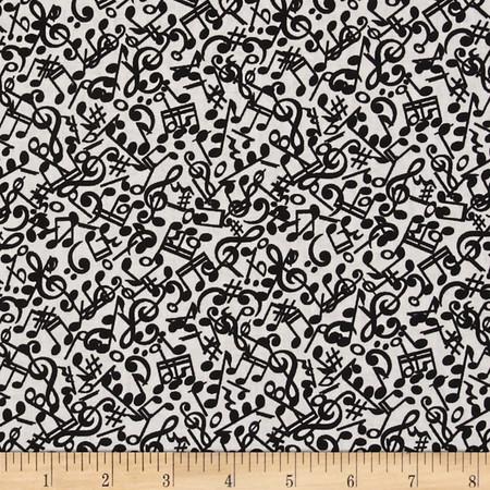Three Quarter Time Notes Grey Fabric