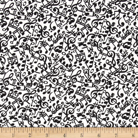 Three Quarter Time Notes White Fabric By The Yard