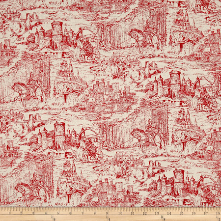 Through the Ages Toile Red Fabric By The Yard