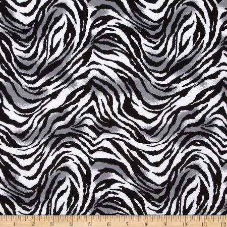 Tiger Print Flannel Black/White/Gray Fabric By The Yard