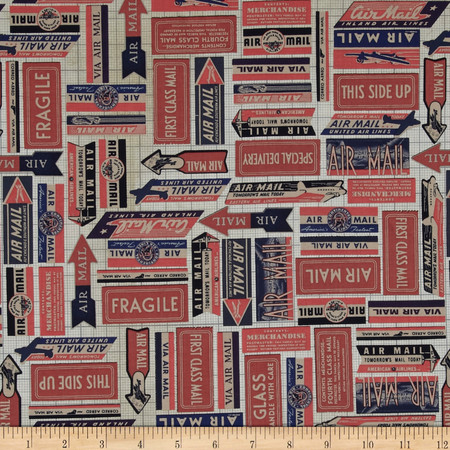 Tim Holtz Eclectic Elements Air Mail Red Fabric By The Yard