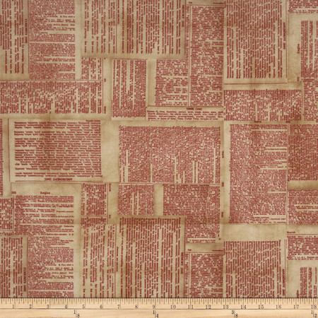 Tim Holtz Eclectic Elements Dictionary Red Fabric By The Yard