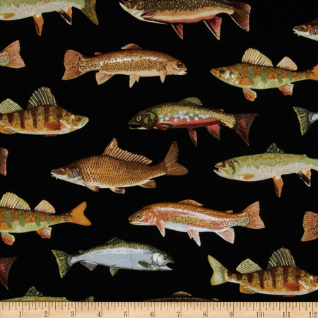 Timeless Treasures Allover Fish Black Fabric By The Yard