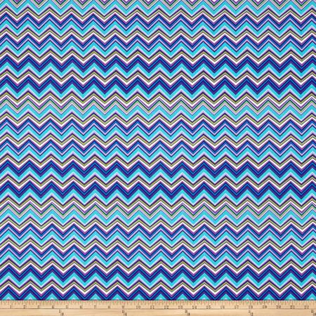 Timeless Treasures Amanda Chevron Turquoise Fabric By The Yard