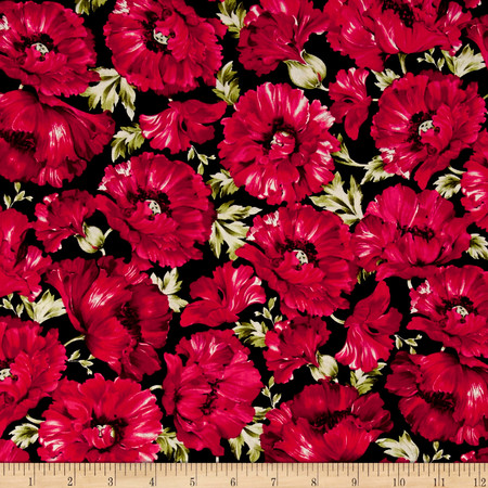 Timeless Treasures Audrey Packed Poppies Fuchsia Fabric By The Yard