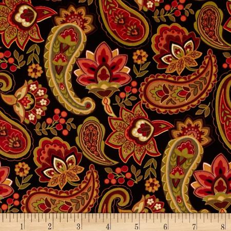 Timeless Treasures Back Marigold Allover Black Fabric