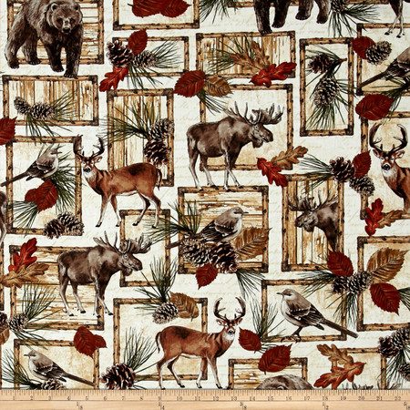 Timeless Treasures Cabin Rules Deer Bear Moose Patch Cream Fabric By The Yard