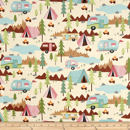 Timeless Treasures Camping Allover Cream Fabric By The Yard