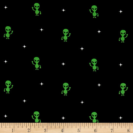 Timeless Treasures Colored Aliens Black Fabric By The Yard