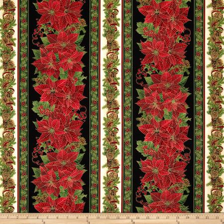 Timeless Treasures Comfort & Joy Metallic Christmas Border Black Fabric