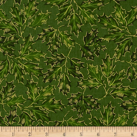 Timeless Treasures Comfort & Joy Metallic Holly Leaf Green Fabric By The Yard