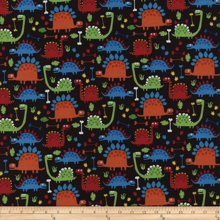 Timeless Treasures Dino Black Fabric