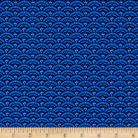 Timeless Treasures Elise Scallop Blue Fabric