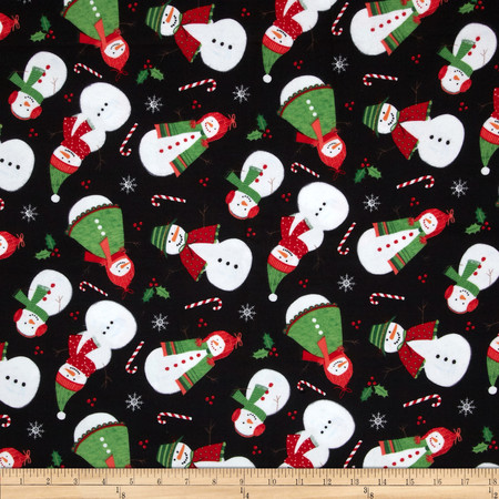 Timeless Treasures Flannel Tossed Snowmen Black Fabric