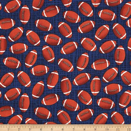 Timeless Treasures Footballs Navy Fabric