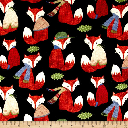 Timeless Treasures Foxes Flannel Black Fabric By The Yard