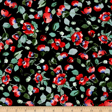 Timeless Treasures Fresh Cut Allover Poppies Black Fabric By The Yard