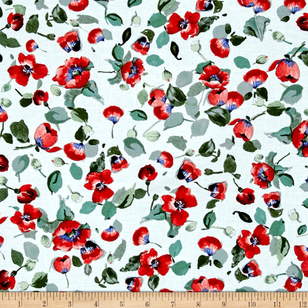 Timeless Treasures Fresh Cut Allover Poppies White Fabric By The Yard