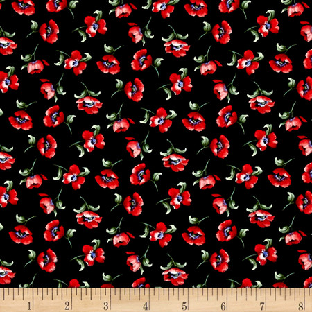 Timeless Treasures Fresh Cut Small Tossed Poppy Buds Black Fabric By The Yard