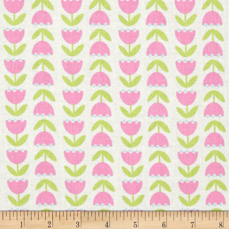 Timeless Treasures Gabrielle Two-Way Tulips White Fabric By The Yard