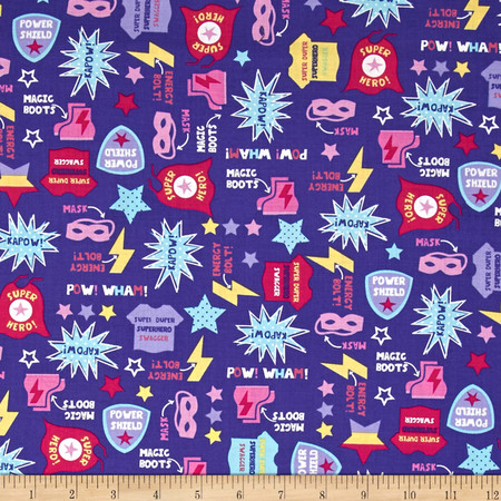 Timeless Treasures Girl Superheroes Motifs Purple Fabric