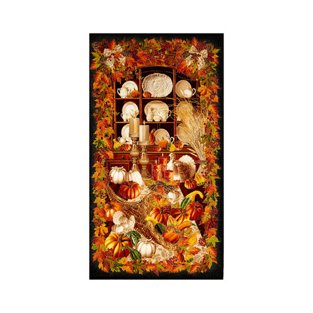 Timeless Treasures Give Thanks Metallic 24'' Harvest Panel Black Fabric By The Yard