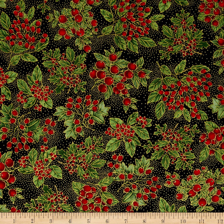 Timeless Treasures Glamourous Holiday Berries Black Fabric By The Yard