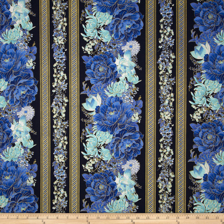 Timeless Treasures Imperial Garden Metallic Floral Border Navy Fabric