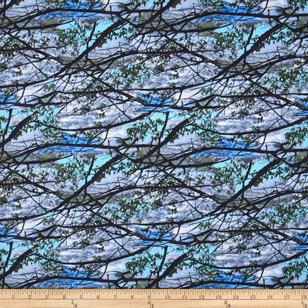 Timeless Treasures Judy Niemeyer Seasonal Portraits Branches Ciel Fabric