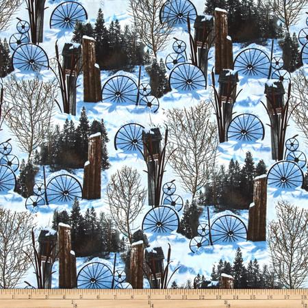 Timeless Treasures Judy Niemeyer Seasonal Portraits Ranch Snow Fabric