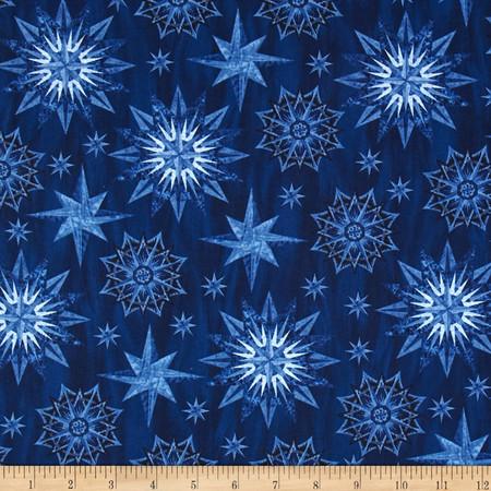 Timeless Treasures Judy Niemeyer Seasonal Portraits Watermark Blue Fabric