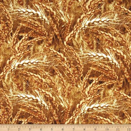 Timeless Treasures Judy Niemeyer Seasonal Portraits Wheat Gold Fabric