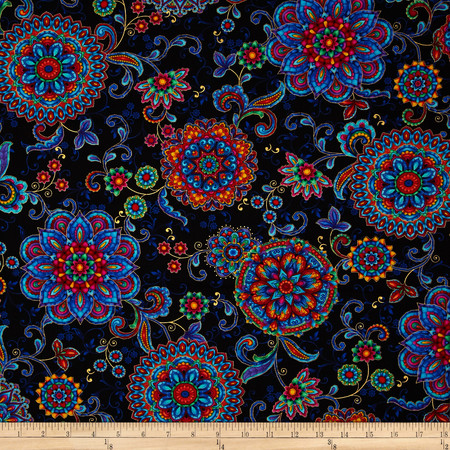 Timeless Treasures Kaleidoscope Metallic Medallions Black Fabric By The Yard