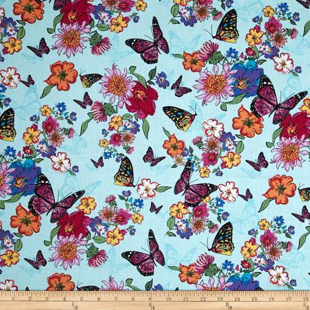 Timeless Treasures Lauren Butterflies Aqua Fabric