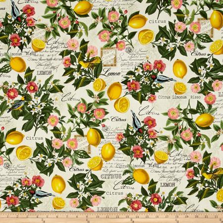 Timeless Treasures Lemon Floral Cream Fabric