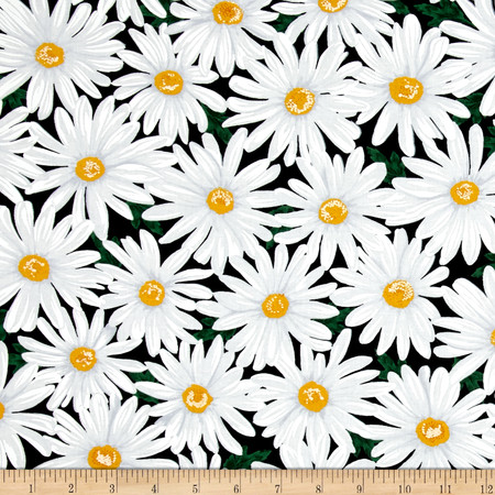 Timeless Treasures Live Love Laugh Packed Daisy Black Fabric By The Yard
