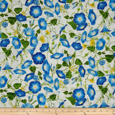 Timeless Treasures Metallic Morning Glory Allover Cream Fabric By The Yard