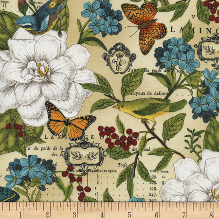 Timeless Treasures Modern Curiosity Allover Natural Fabric By The Yard