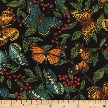 Timeless Treasures Modern Curiosity Butterflies and Leaves Black Fabric By The Yard