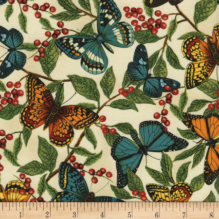 Timeless Treasures Modern Curiosity Butterflies and Leaves Natural Fabric By The Yard