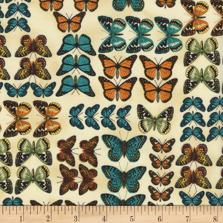Timeless Treasures Modern Curiosity Butterflies in Rows Natural Fabric By The Yard