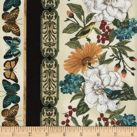 Timeless Treasures Modern Curiosity Stripe Natural Fabric By The Yard
