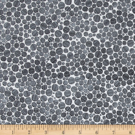 Timeless Treasures Monochrome Striped Dots Piano Fabric